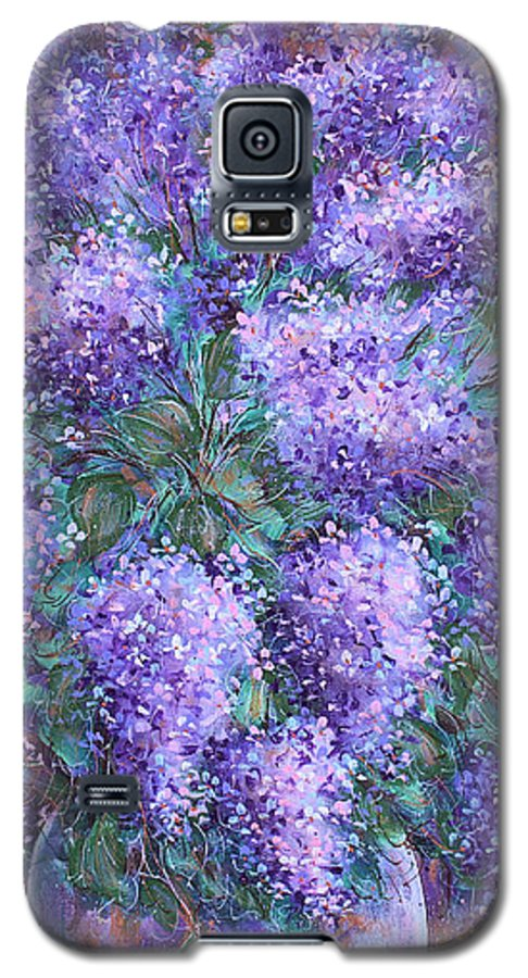 Flowers Galaxy S5 Case featuring the painting Scented Lilacs Bouquet by Natalie Holland