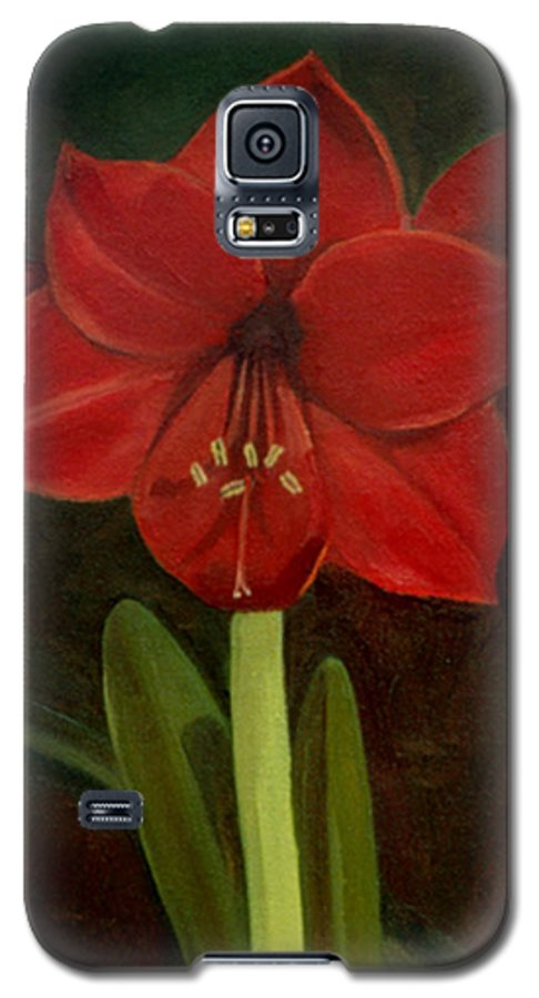 Amaryllis Galaxy S5 Case featuring the painting Amaryllis by Nancy Griswold