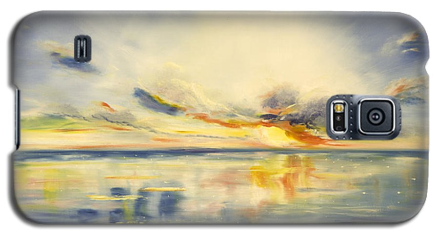 Blue Galaxy S5 Case featuring the painting Blue Sunset by Gina De Gorna