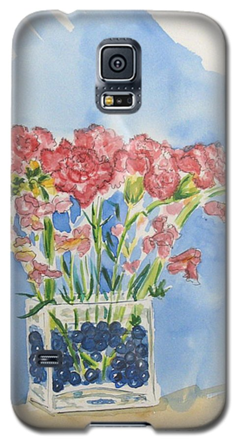 Flowers Galaxy S5 Case featuring the painting Flowers In A Vase by Mary Ellen Mueller Legault