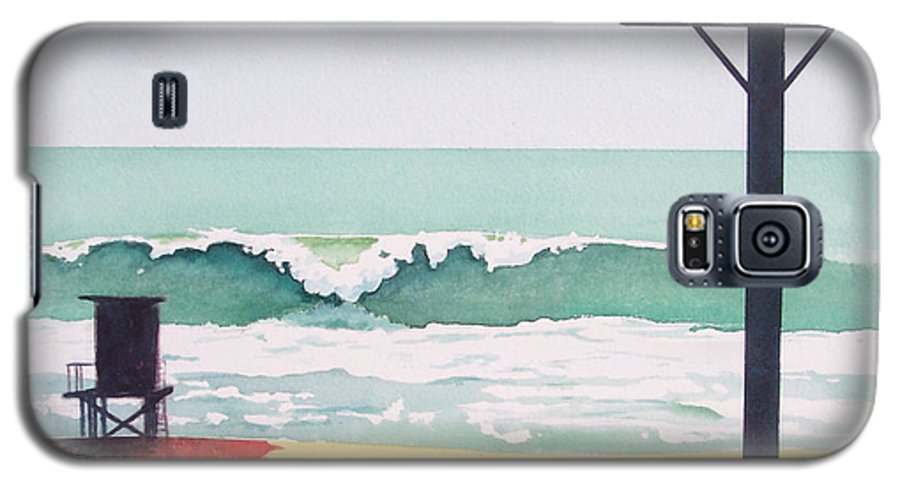 Surf Galaxy S5 Case featuring the painting 14th Street Huntington Beach by Philip Fleischer