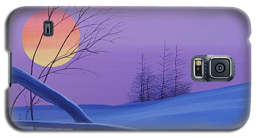 Mountains Galaxy S5 Case featuring the painting Silent Snow by Hunter Jay