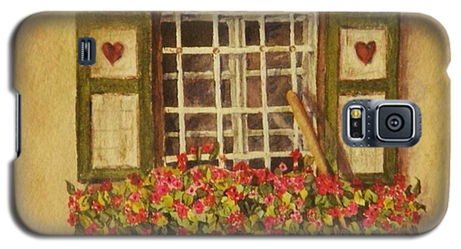 Rural Galaxy S5 Case featuring the painting Farm Window by Mary Ellen Mueller Legault