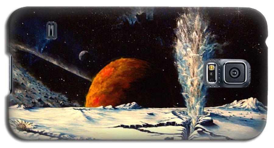 Landscape. Geyser Galaxy S5 Case featuring the painting Frozen Geyser by Murphy Elliott