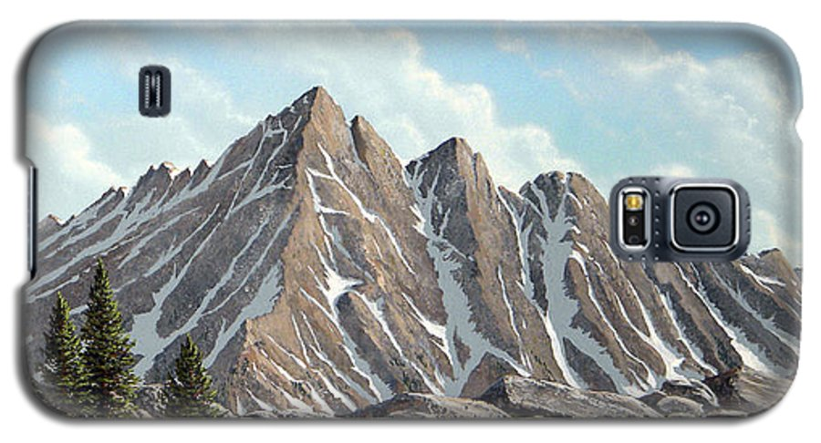 Landscape Galaxy S5 Case featuring the painting Lofty Peaks by Frank Wilson