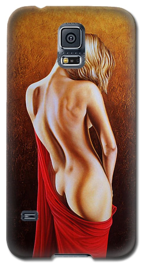 Woman Galaxy S5 Case featuring the painting Secrets Of The Red Veil by Horacio Cardozo