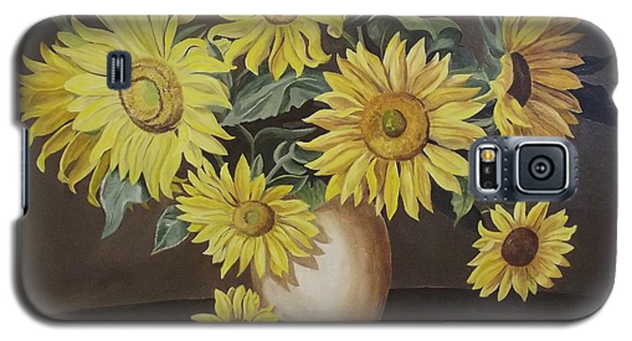 Flowers Galaxy S5 Case featuring the painting Sunshine And Sunflowers by Wanda Dansereau