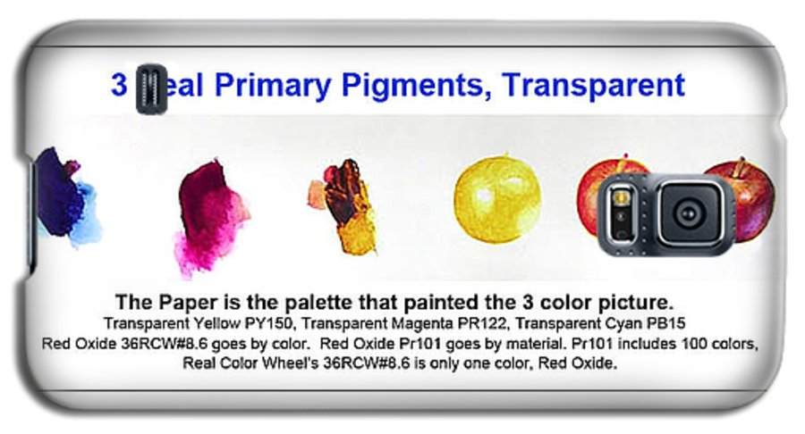 Faa Galaxy S5 Case featuring the painting 3 Primary Pigments - Apple by Don Jusko
