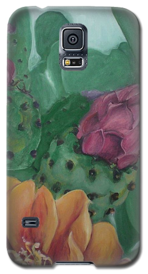 Yellow Galaxy S5 Case featuring the painting Yellow Cactus Blossom by Aleksandra Buha