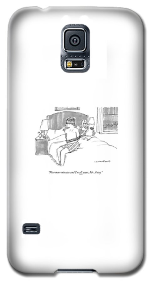 A Man Sits Tied Up In His Underwear On The Bed Galaxy S5 Case for Sale by Michael  Crawford c66624f72