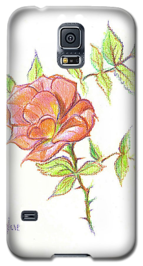 A Rose In Brigadoon Galaxy S5 Case featuring the drawing A Rose In Brigadoon by Kip DeVore