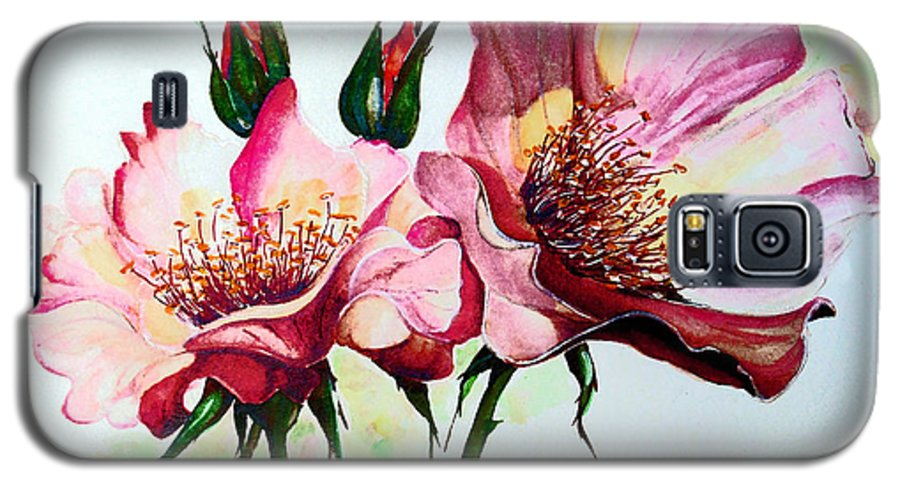 Flower Painting Galaxy S5 Case featuring the painting A Rose Is A Rose by Karin Dawn Kelshall- Best