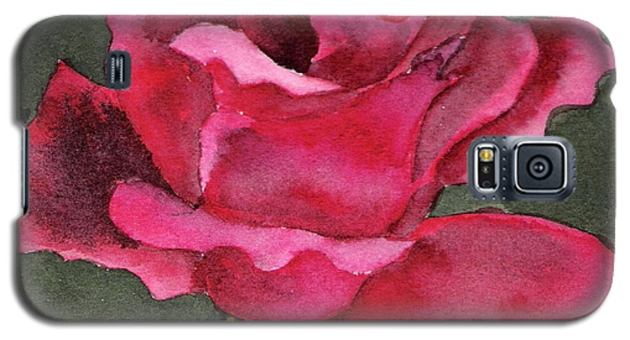 Rose Flower Red Painting Watercolor Still Life Galaxy S5 Case featuring the painting A Rose Is A Rose by Marsha Woods