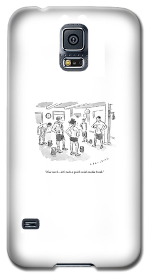 Gym Galaxy S5 Case featuring the drawing A Trainer At A Gym Talking To A Small Group by Trevor Spaulding