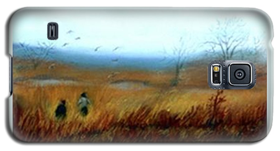 Figures Galaxy S5 Case featuring the painting A Winter Walk by Gail Kirtz