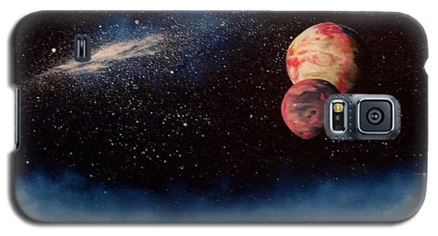 Landscape Galaxy S5 Case featuring the painting Above Alien Clouds by Murphy Elliott