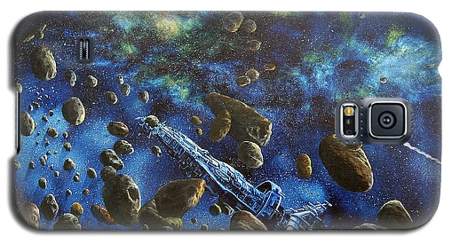 Astro Galaxy S5 Case featuring the painting Accidental Asteroid by Murphy Elliott