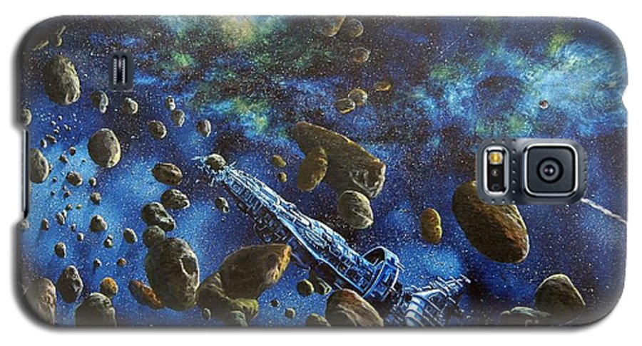Canvas Galaxy S5 Case featuring the painting Accidental Asteroid by Murphy Elliott