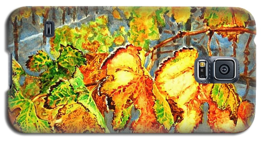 Vineyard Galaxy S5 Case featuring the painting After The Harvest by Karen Ilari