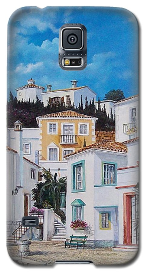Cityscape Galaxy S5 Case featuring the painting Afternoon Light In Montenegro by Sinisa Saratlic