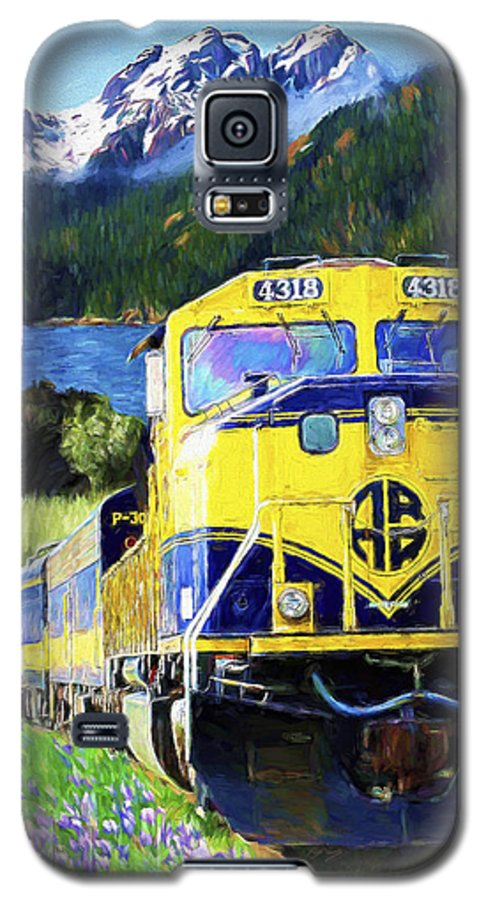Railroad Galaxy S5 Case featuring the painting Alaska Railroad by David Wagner