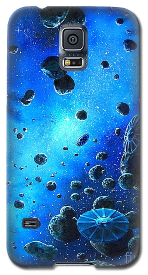 (space Ships) Galaxy S5 Case featuring the painting Alien Flying Saucers by Murphy Elliott