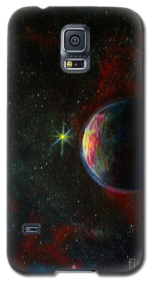 Cosmos Galaxy S5 Case featuring the painting Alien Worlds by Murphy Elliott
