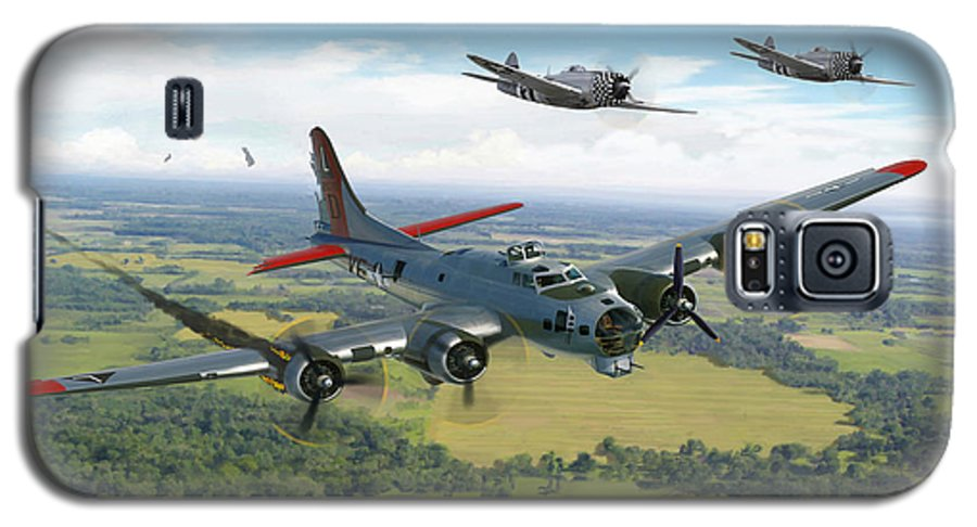 Airplane Galaxy S5 Case featuring the painting Almost Home B-17 Flying Fortress by Mark Karvon