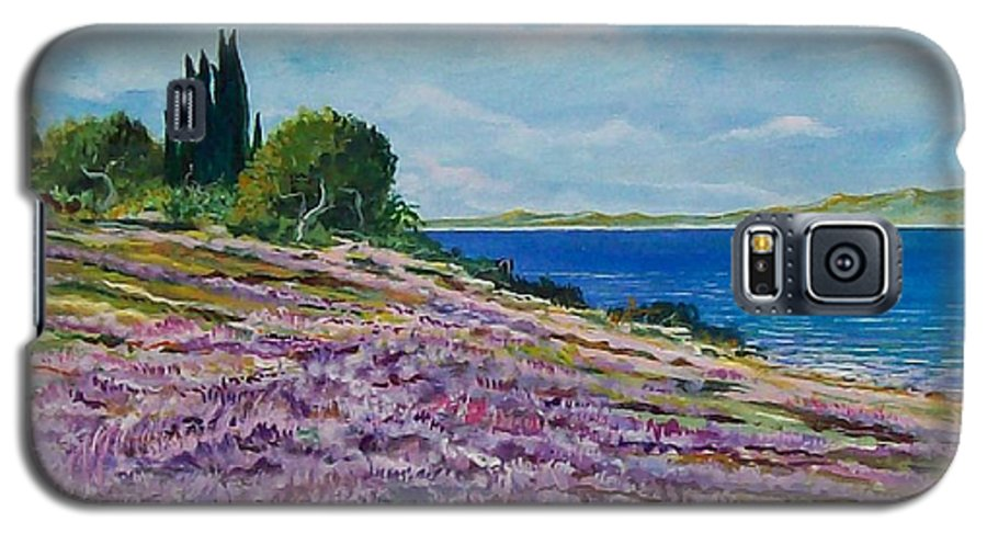 Landscape Galaxy S5 Case featuring the painting Along The Shore by Sinisa Saratlic