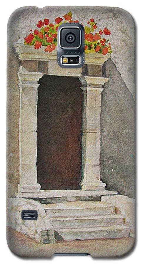 Antique Doorway Galaxy S5 Case featuring the painting Ancient Doorway by Mary Ellen Mueller Legault