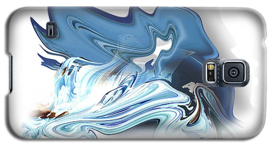 Astrology Galaxy S5 Case featuring the painting Aquarius by Christian Simonian