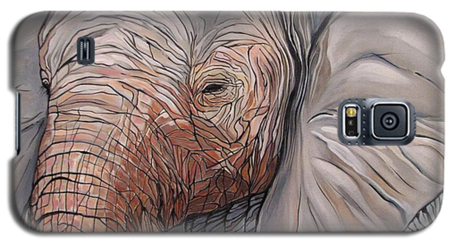 Elephant Bull Painting Galaxy S5 Case featuring the painting Are You There by Aimee Vance