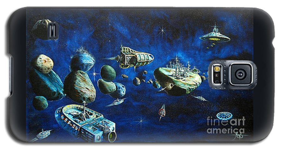 Fantasy Galaxy S5 Case featuring the painting Asteroid City by Murphy Elliott