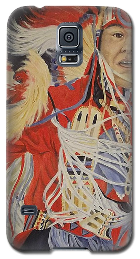 Indian Galaxy S5 Case featuring the painting At The Powwow by Wanda Dansereau