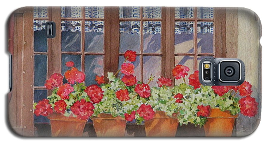 Watercolor Galaxy S5 Case featuring the painting August At The Auberge by Mary Ellen Mueller Legault