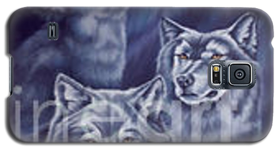 Wolf Galaxy S5 Case featuring the painting Aurora Wolves by Wendy Froshay