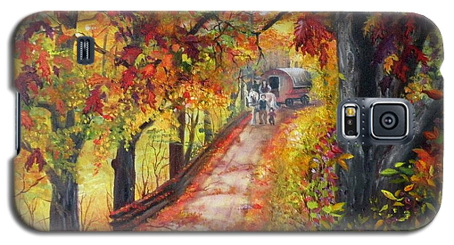 Scenery Galaxy S5 Case featuring the painting Autumn Dreams by Lora Duguay