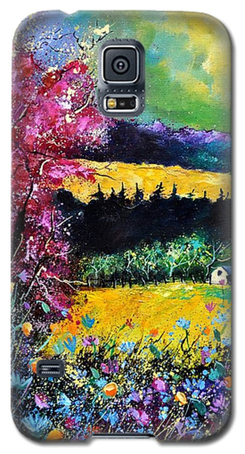 Landscape Galaxy S5 Case featuring the painting Autumn Flowers by Pol Ledent