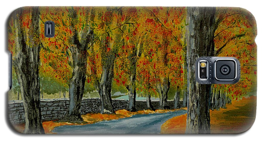 Autumn Galaxy S5 Case featuring the painting Autumn Pathway by Anthony Dunphy