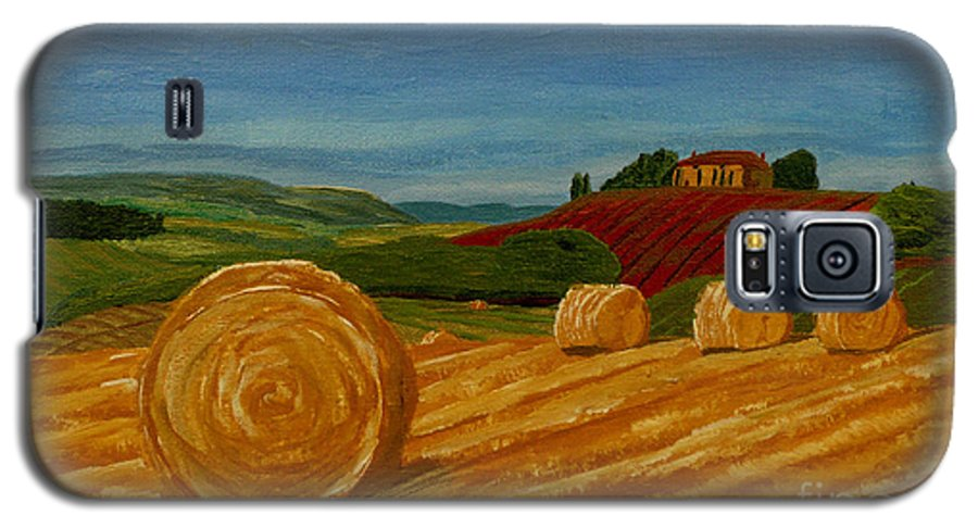 Hay Galaxy S5 Case featuring the painting Field Of Golden Hay by Anthony Dunphy