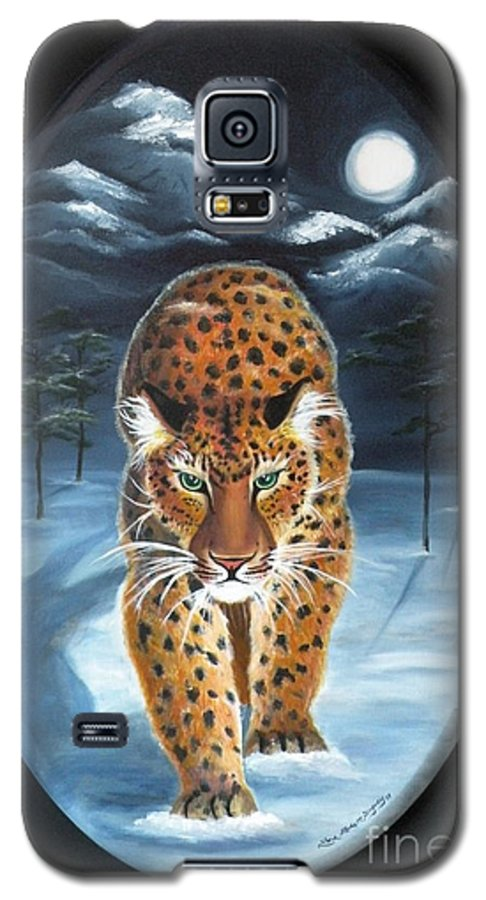 Snow Leopard Galaxy S5 Case featuring the painting Batukhan Snow Leopard by Lora Duguay
