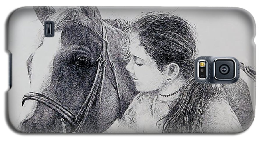 Pets Horses Horseback Riding Children Galaxy S5 Case featuring the painting Best Friends by Tony Ruggiero