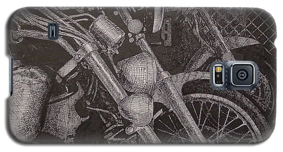 Motorcycles Galaxy S5 Case featuring the drawing Bikes by Denis Gloudeman