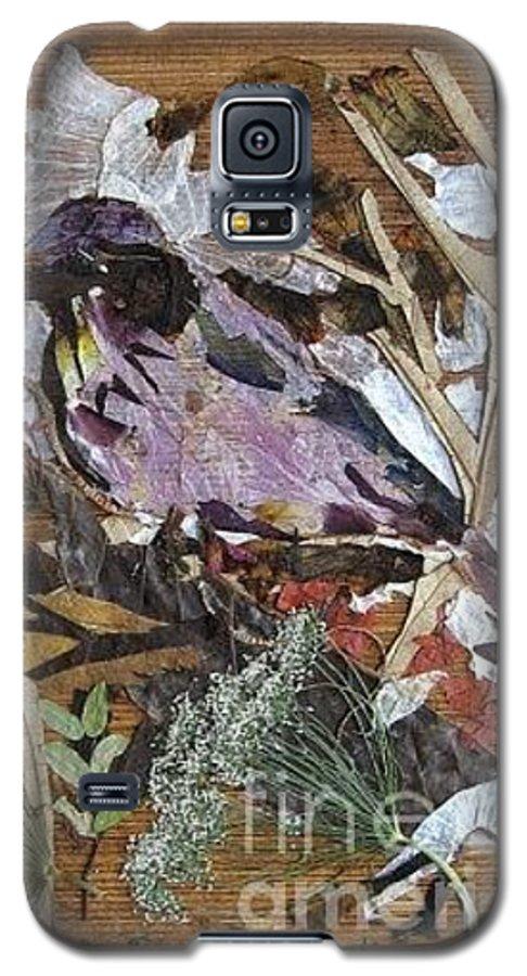 Bird Scrub Joy Galaxy S5 Case featuring the mixed media Bird Scubjoy by Basant Soni