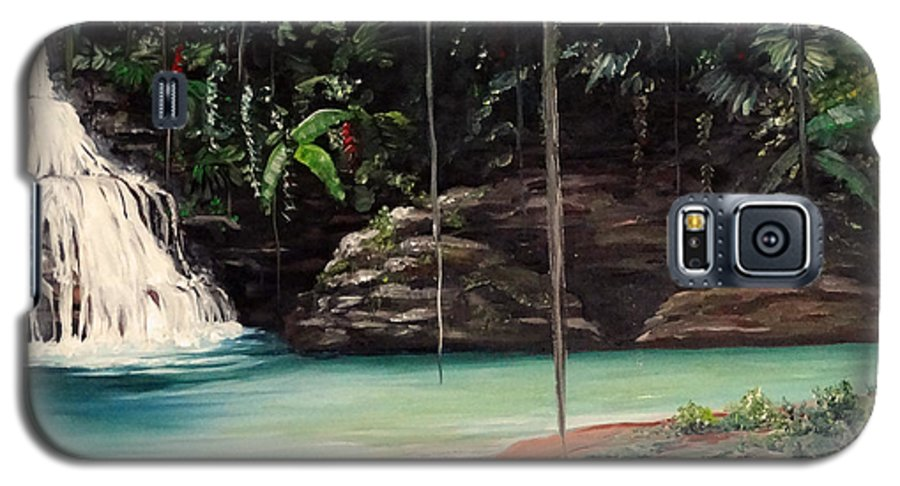 Tropical Waterfall Galaxy S5 Case featuring the painting Blue Basin by Karin Dawn Kelshall- Best