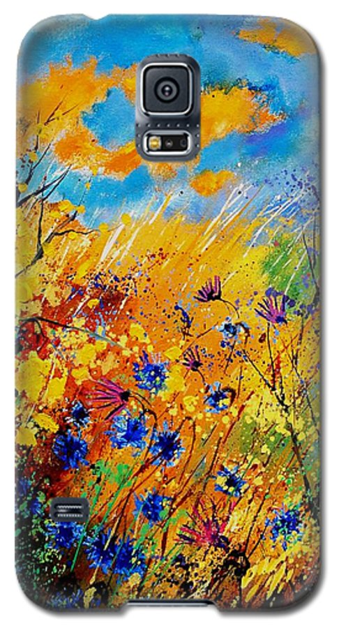 Poppies Galaxy S5 Case featuring the painting Blue Cornflowers 450408 by Pol Ledent