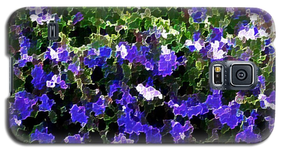 Blue.flowers.green Leaves.happiness.rest.pleasure.mosaic Galaxy S5 Case featuring the digital art Blue Flowers On Sun by Dr Loifer Vladimir