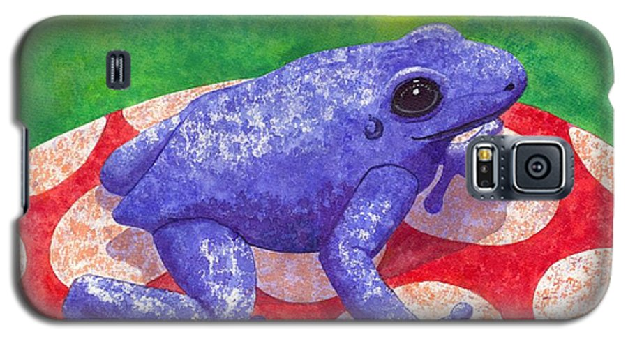 Frog Galaxy S5 Case featuring the painting Blue Frog by Catherine G McElroy
