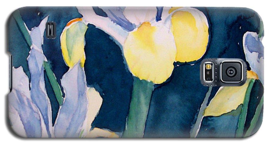 Flowers Galaxy S5 Case featuring the painting Blue Iris by Philip Fleischer