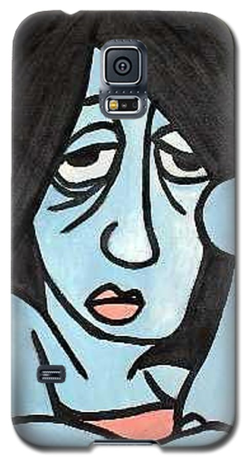 Portrait Galaxy S5 Case featuring the painting Blue by Thomas Valentine